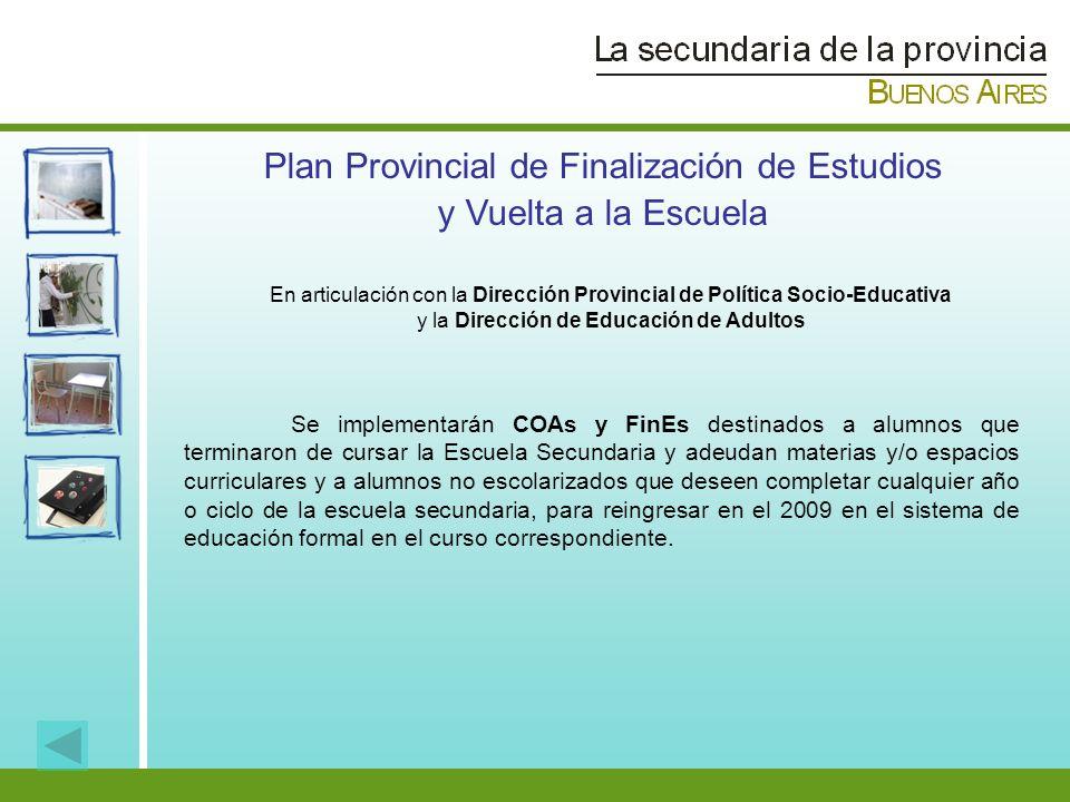 Plan Provincial de Finalización de Estudios y Vuelta a la Escuela