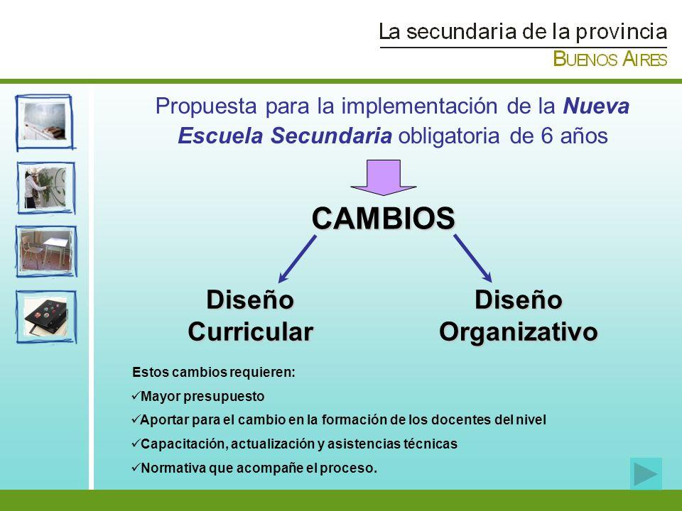 CAMBIOS Diseño Curricular Diseño Organizativo