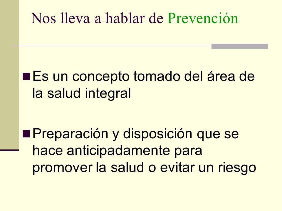 Nos lleva a hablar de Prevención