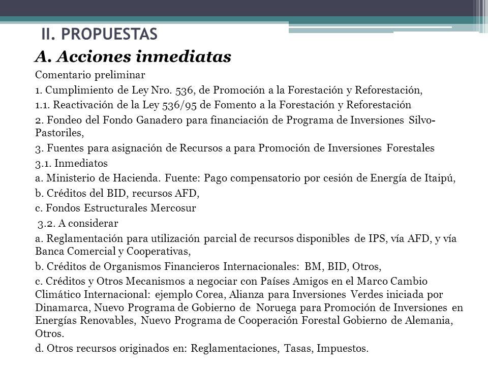 II. PROPUESTAS A. Acciones inmediatas Comentario preliminar