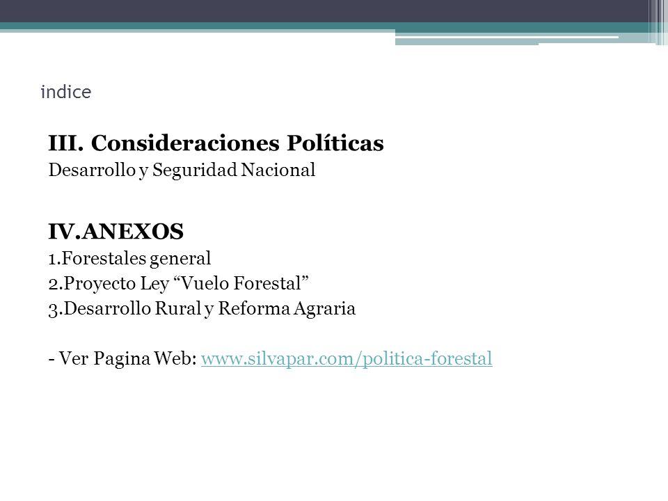 III. Consideraciones Políticas IV.ANEXOS indice