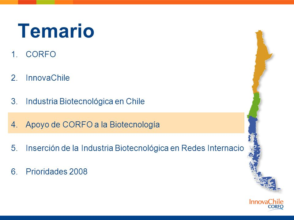 Temario CORFO InnovaChile Industria Biotecnológica en Chile