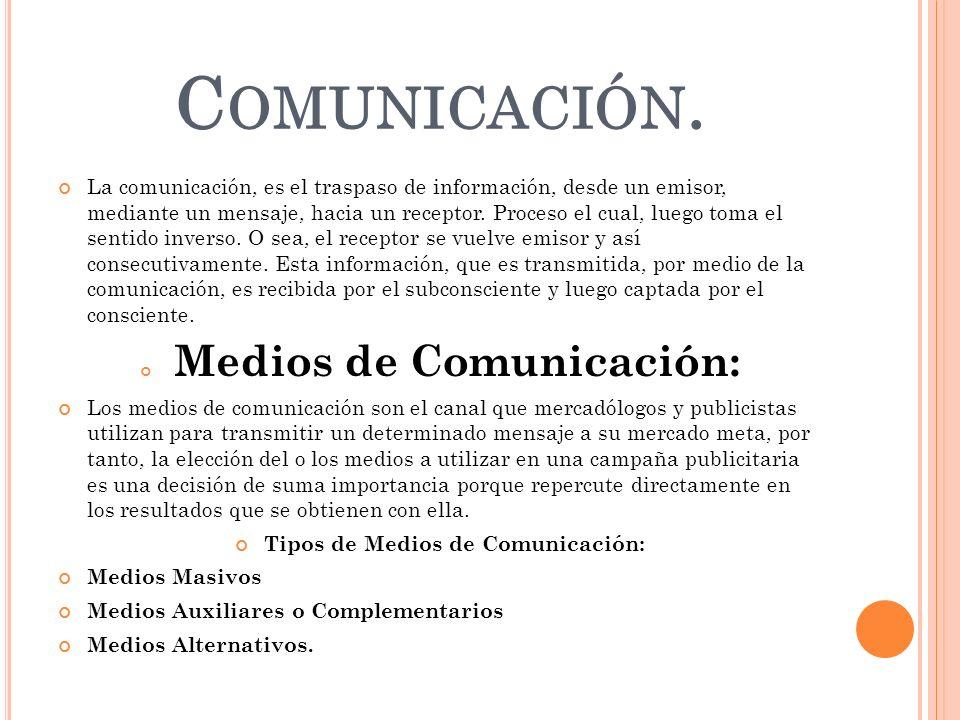 Medios de Comunicación: Tipos de Medios de Comunicación: