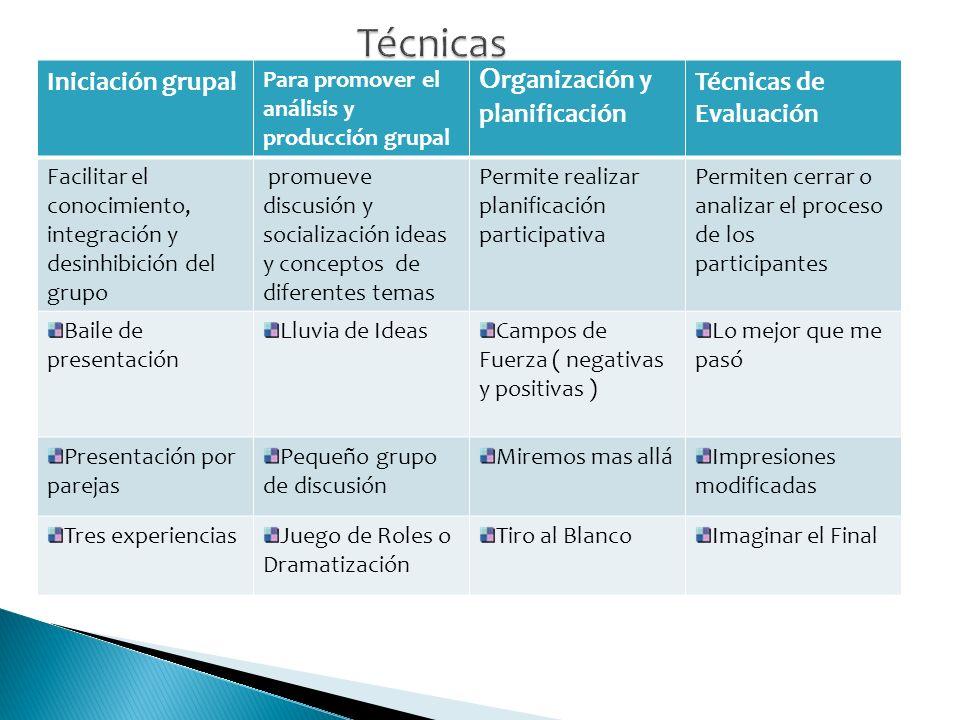 Técnicas Iniciación grupal Organización y planificación