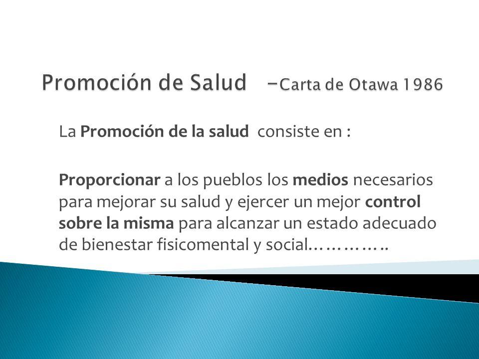 Promoción de Salud -Carta de Otawa 1986