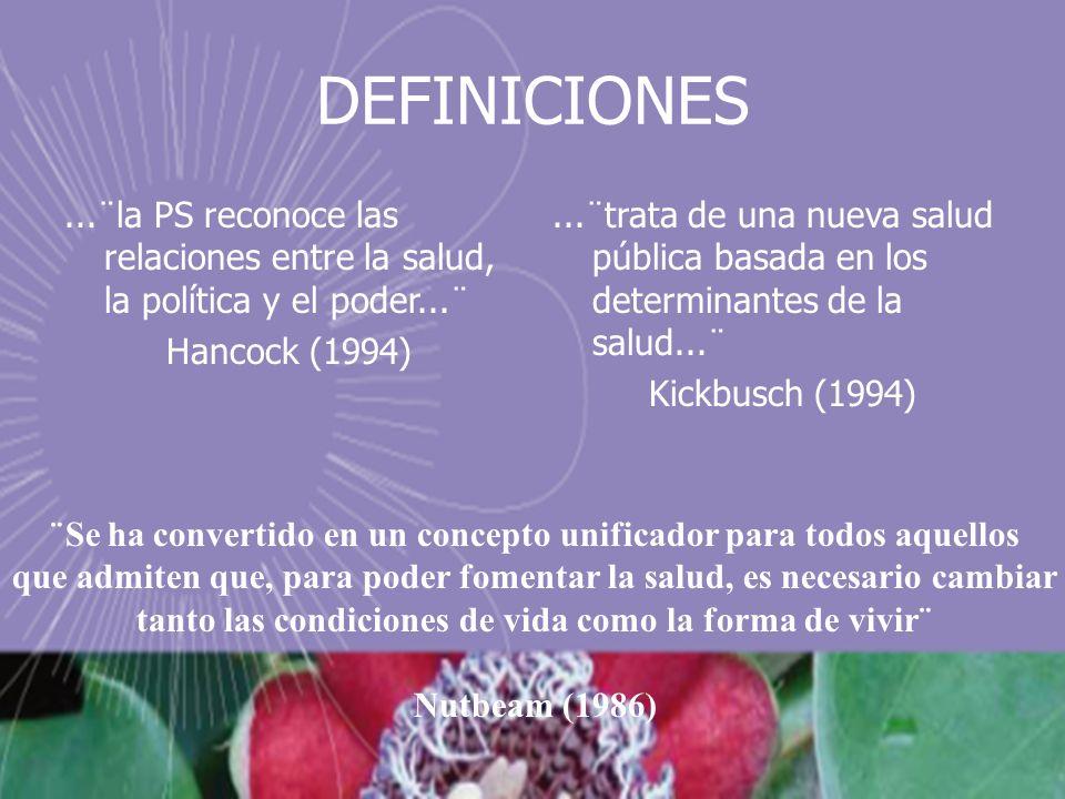 DEFINICIONES ...¨la PS reconoce las relaciones entre la salud, la política y el poder...¨ Hancock (1994)