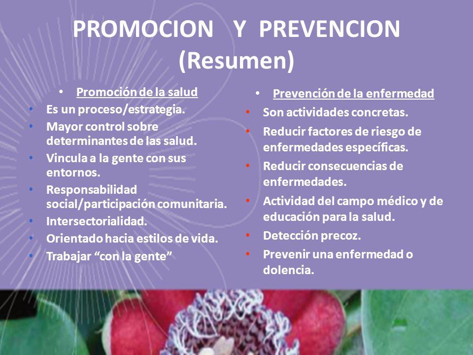 PROMOCION Y PREVENCION (Resumen)
