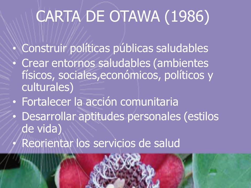 CARTA DE OTAWA (1986) Construir políticas públicas saludables