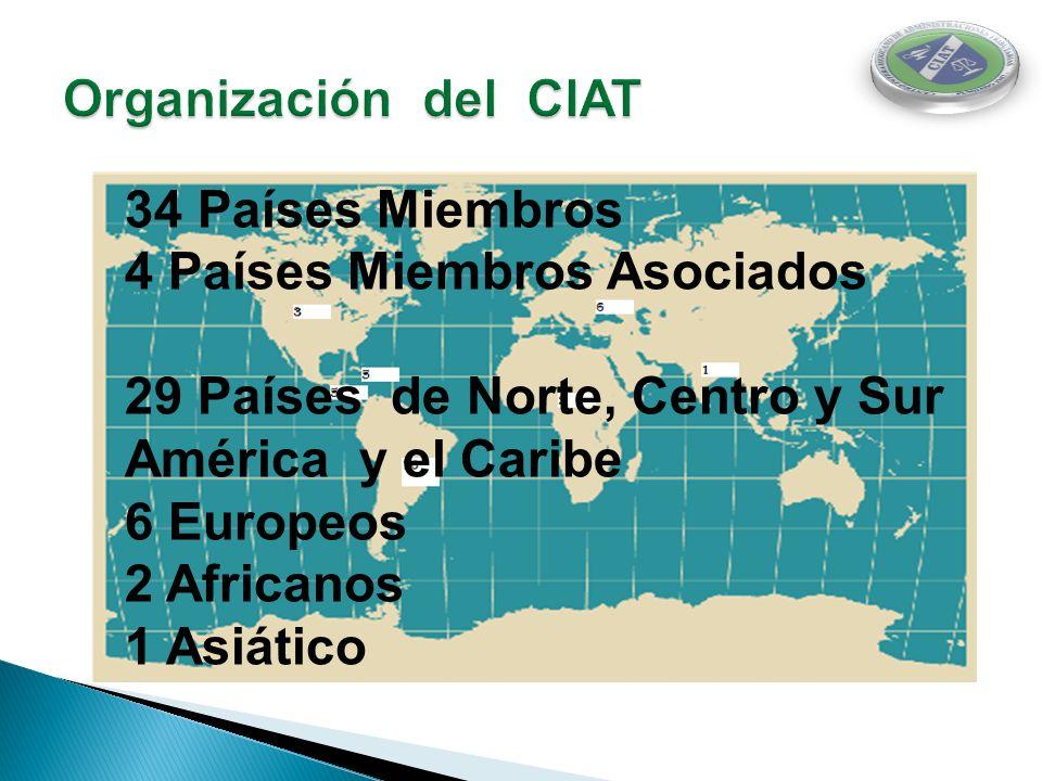 Organización del CIAT 34 Países Miembros. 4 Países Miembros Asociados. 29 Países de Norte, Centro y Sur América y el Caribe.