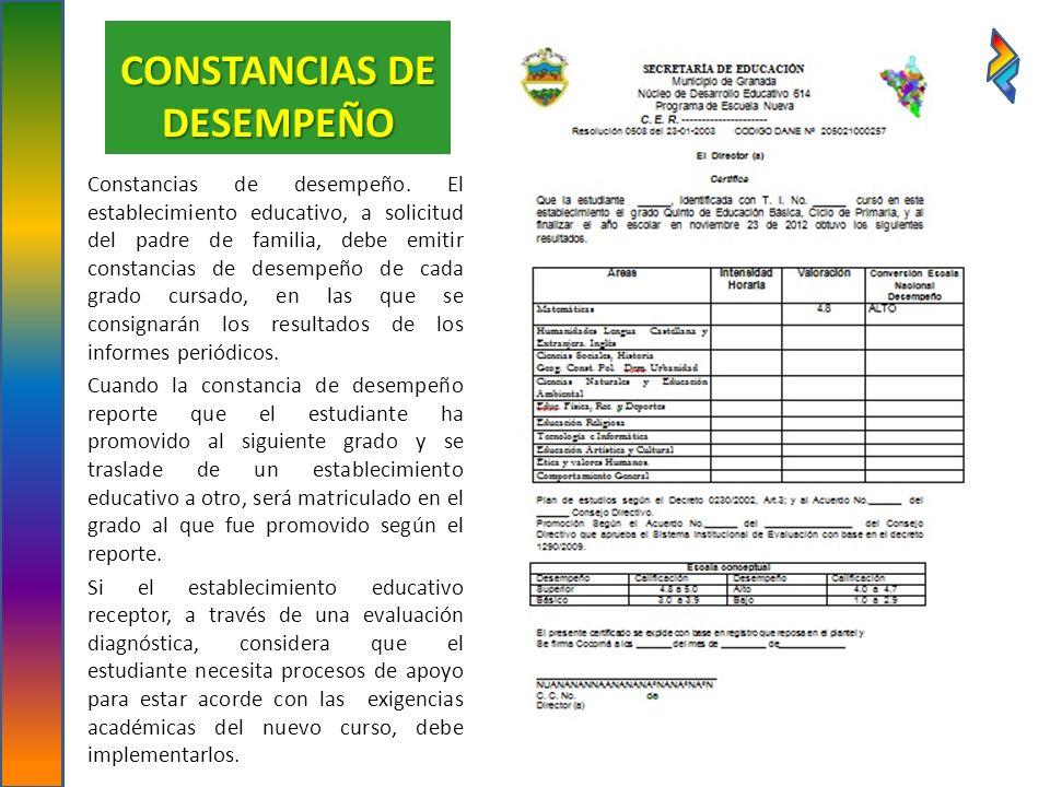 CONSTANCIAS DE DESEMPEÑO