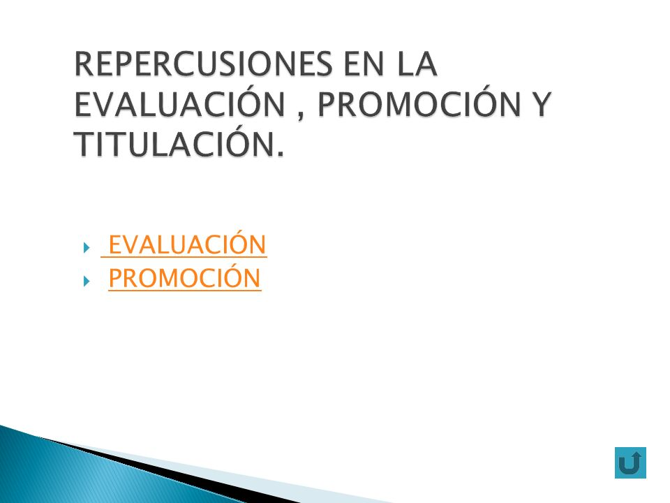 REPERCUSIONES EN LA EVALUACIÓN , PROMOCIÓN Y TITULACIÓN.
