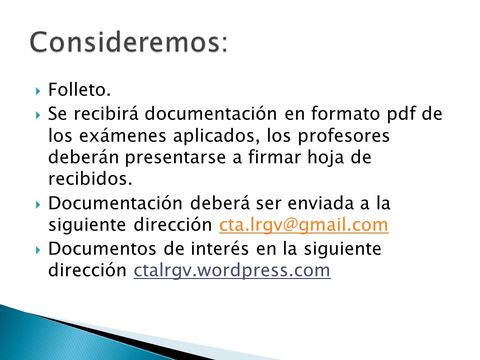 Consideremos: Folleto.