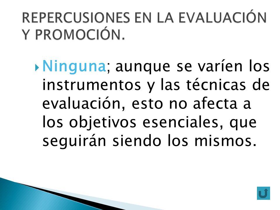 REPERCUSIONES EN LA EVALUACIÓN Y PROMOCIÓN.