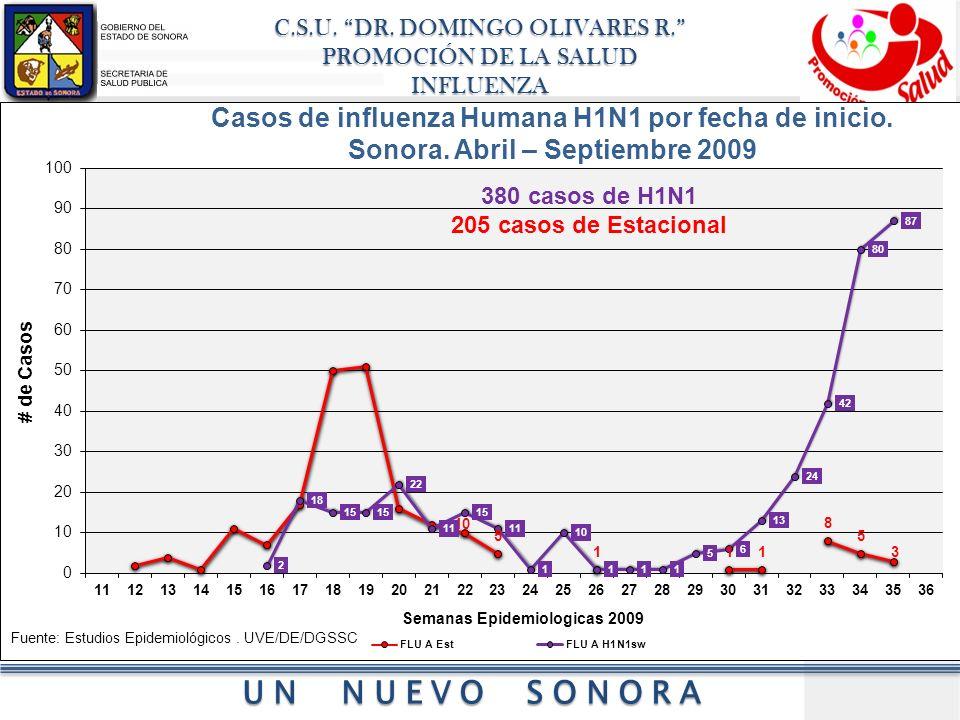 Casos de influenza Humana H1N1 por fecha de inicio.