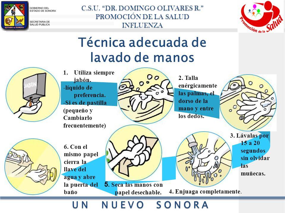 Técnica adecuada de lavado de manos