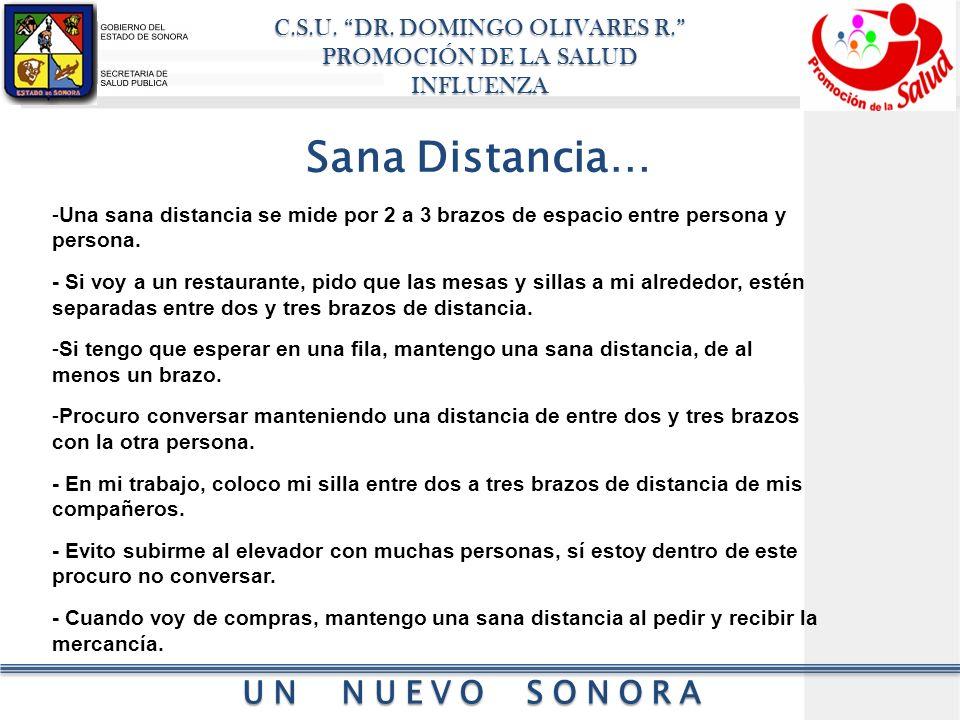 Sana Distancia… Una sana distancia se mide por 2 a 3 brazos de espacio entre persona y persona.