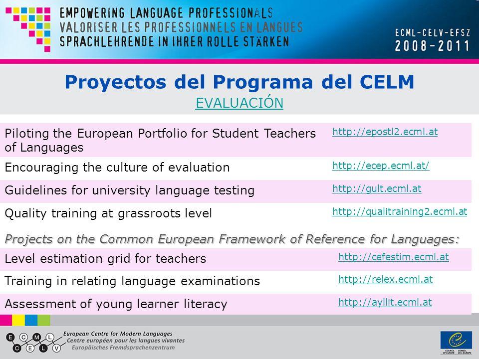 Proyectos del Programa del CELM EVALUACIÓN