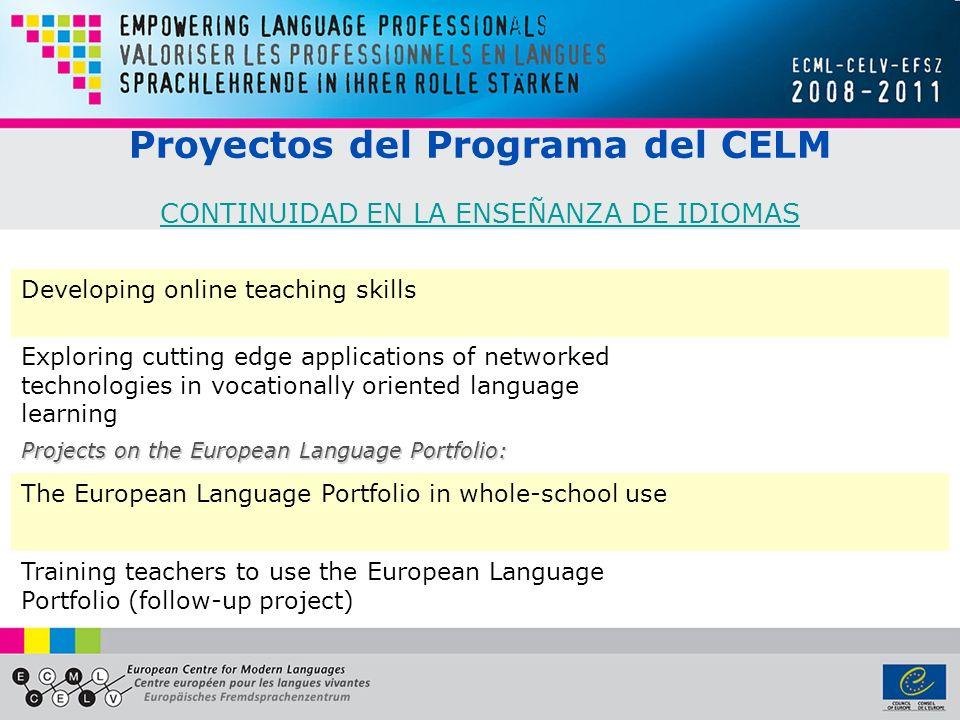 Proyectos del Programa del CELM CONTINUIDAD EN LA ENSEÑANZA DE IDIOMAS