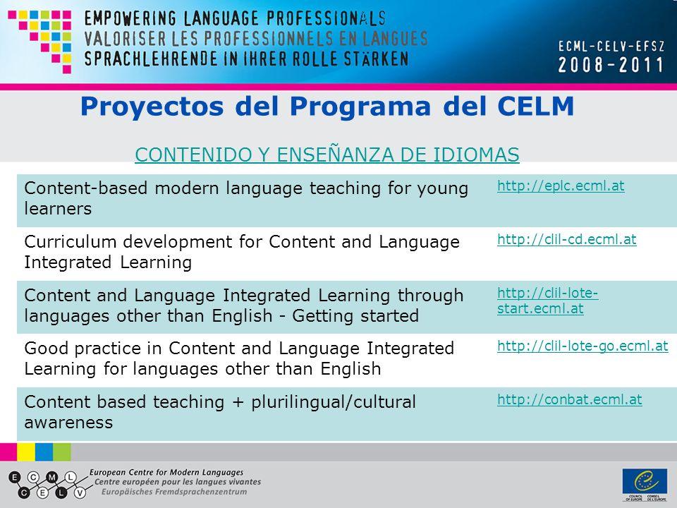 Proyectos del Programa del CELM CONTENIDO Y ENSEÑANZA DE IDIOMAS
