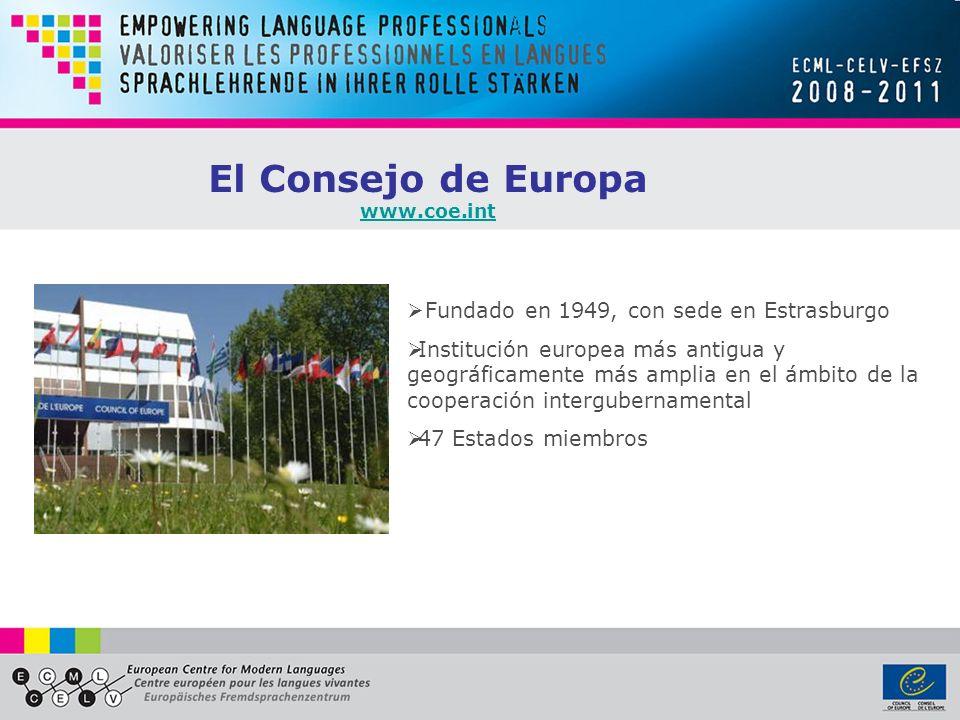 El Consejo de Europa Fundado en 1949, con sede en Estrasburgo