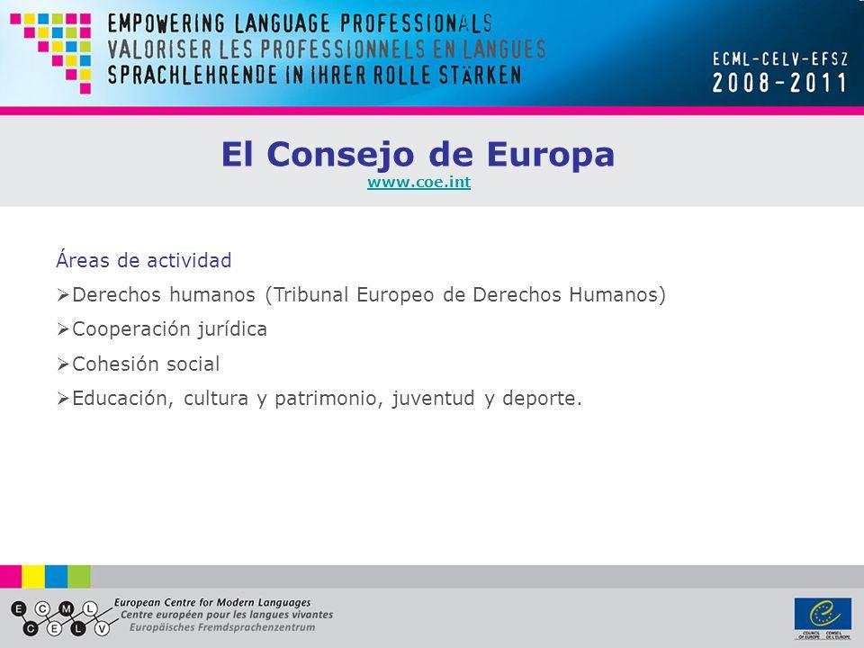El Consejo de Europa Áreas de actividad