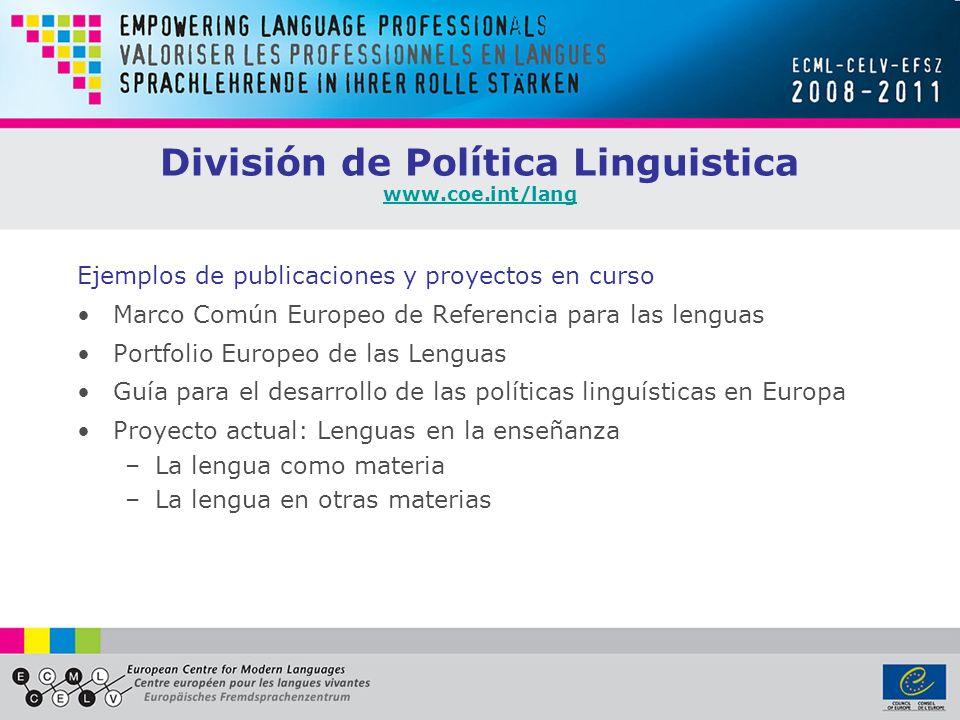 División de Política Linguistica www.coe.int/lang