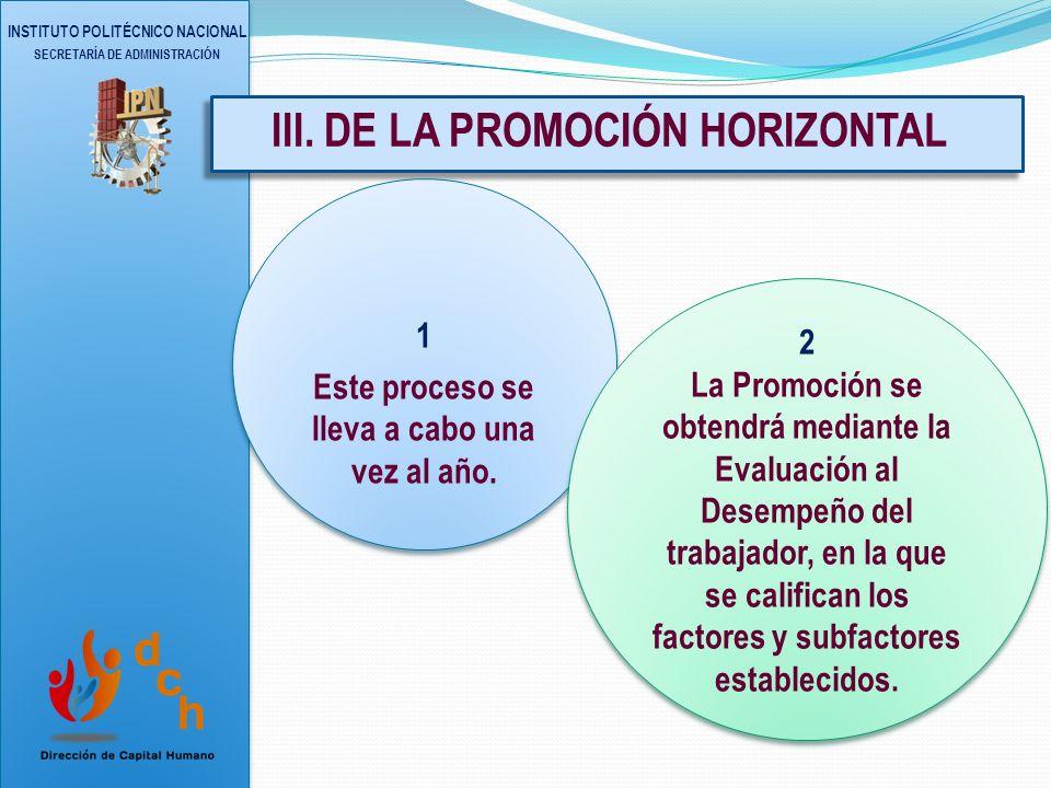 III. DE LA PROMOCIÓN HORIZONTAL