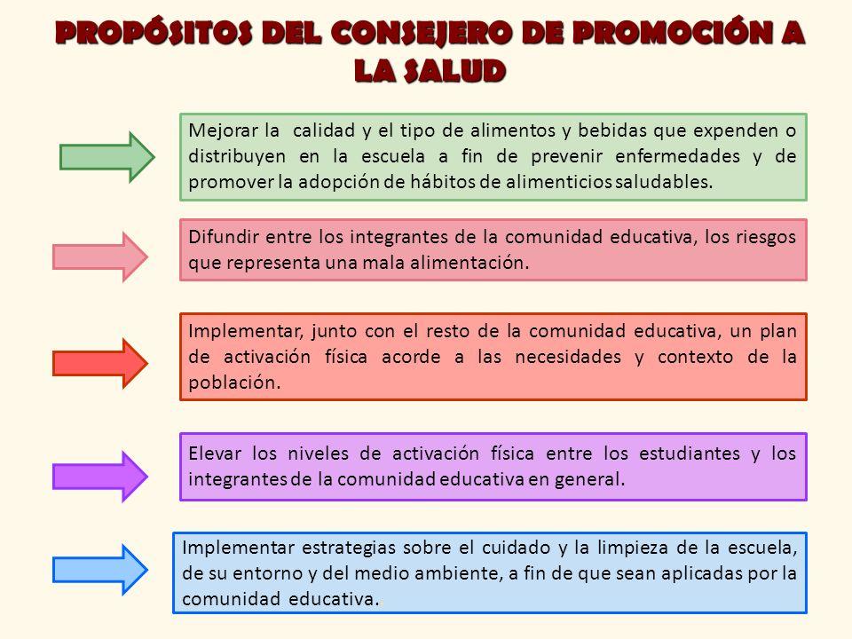 PROPÓSITOS DEL CONSEJERO DE PROMOCIÓN A LA SALUD