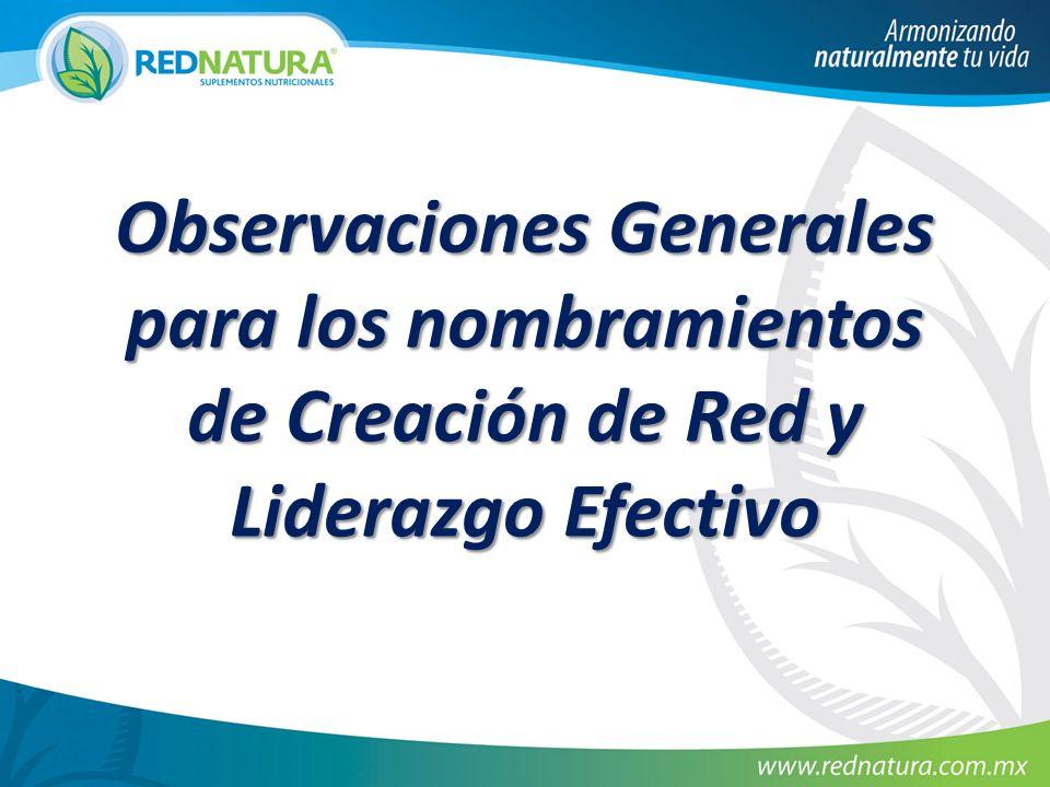 Observaciones Generales para los nombramientos de Creación de Red y Liderazgo Efectivo