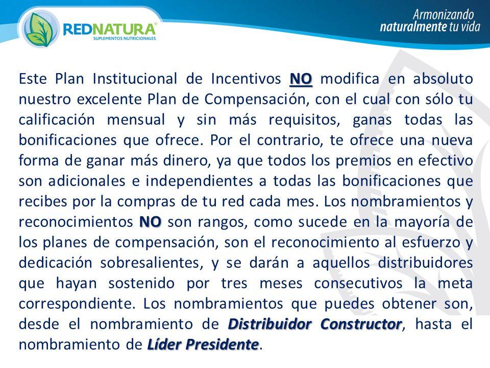 Este Plan Institucional de Incentivos NO modifica en absoluto nuestro excelente Plan de Compensación, con el cual con sólo tu calificación mensual y sin más requisitos, ganas todas las bonificaciones que ofrece.