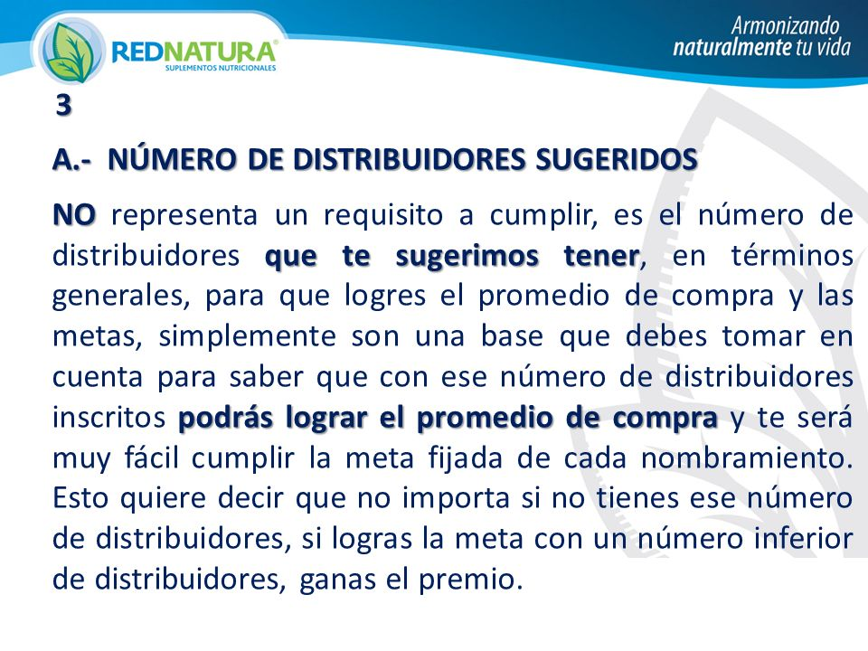 3 A.- NÚMERO DE DISTRIBUIDORES SUGERIDOS.