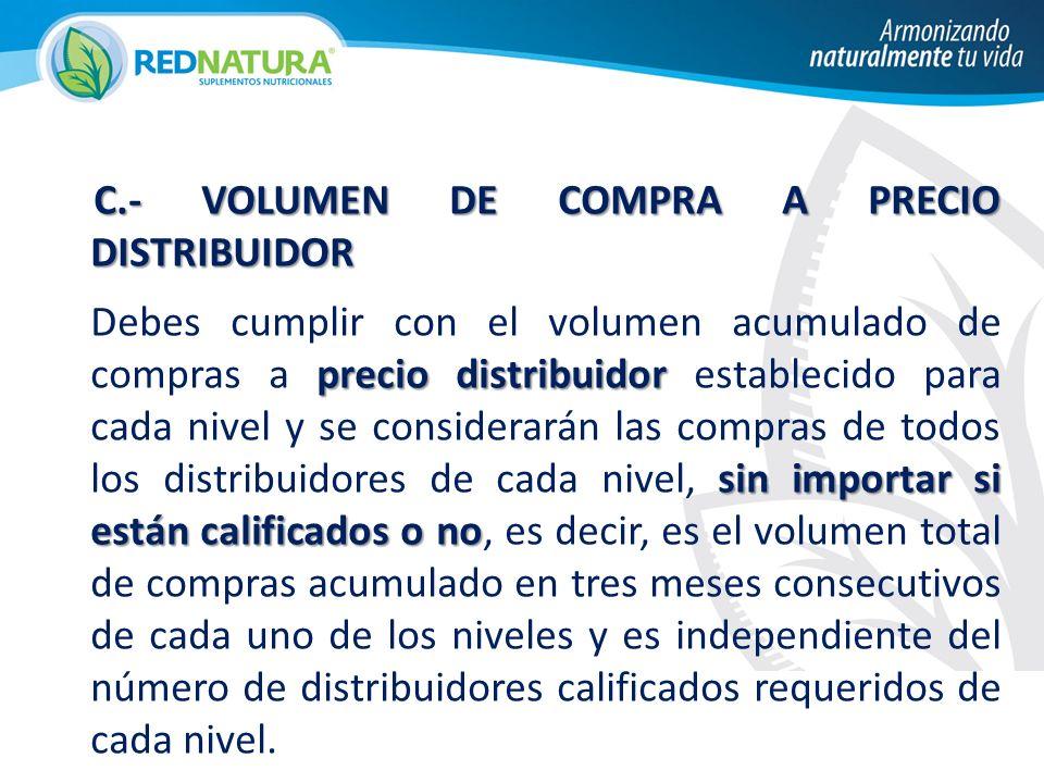 C.- VOLUMEN DE COMPRA A PRECIO DISTRIBUIDOR