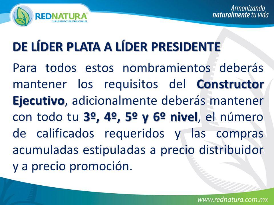 DE LÍDER PLATA A LÍDER PRESIDENTE