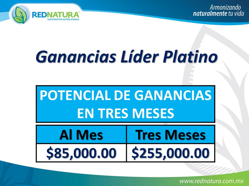 Ganancias Líder Platino POTENCIAL DE GANANCIAS EN TRES MESES