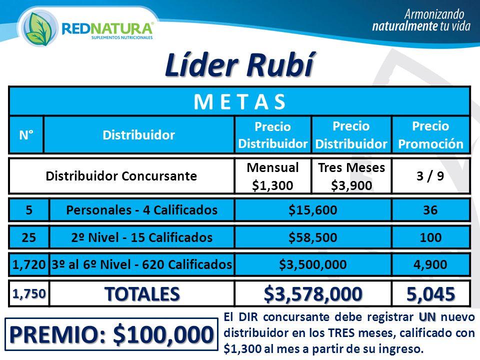 Líder Rubí PREMIO: $100,000 M E T A S TOTALES $3,578,000 5,045 N°