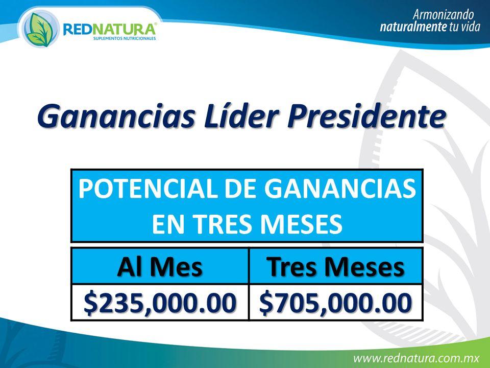 Ganancias Líder Presidente POTENCIAL DE GANANCIAS EN TRES MESES