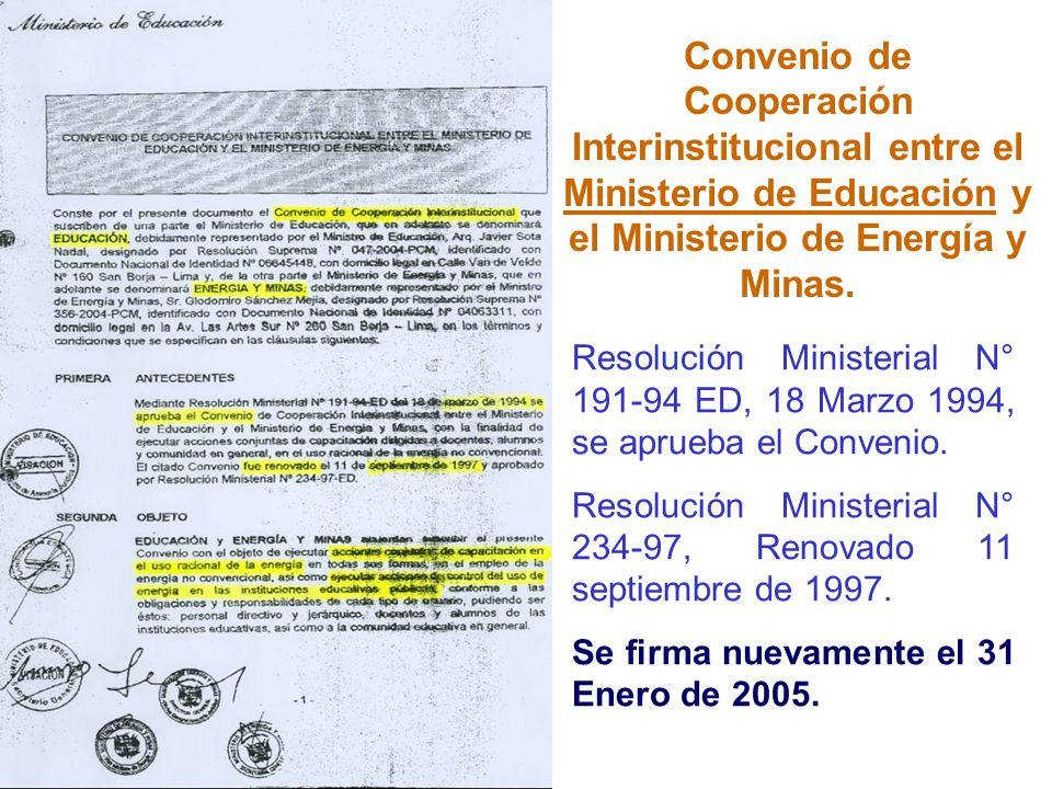 Convenio de Cooperación Interinstitucional entre el Ministerio de Educación y el Ministerio de Energía y Minas.