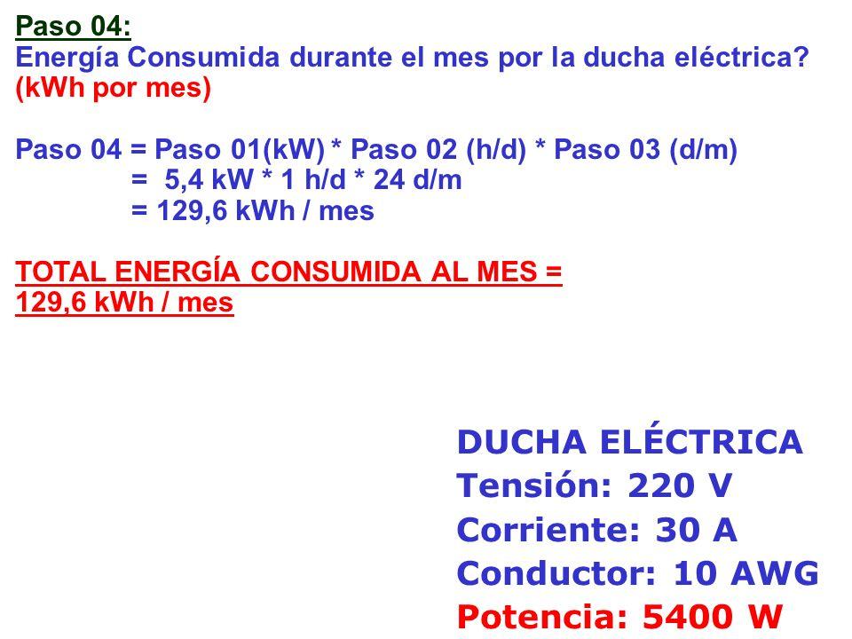 DUCHA ELÉCTRICA Tensión: 220 V Corriente: 30 A Conductor: 10 AWG