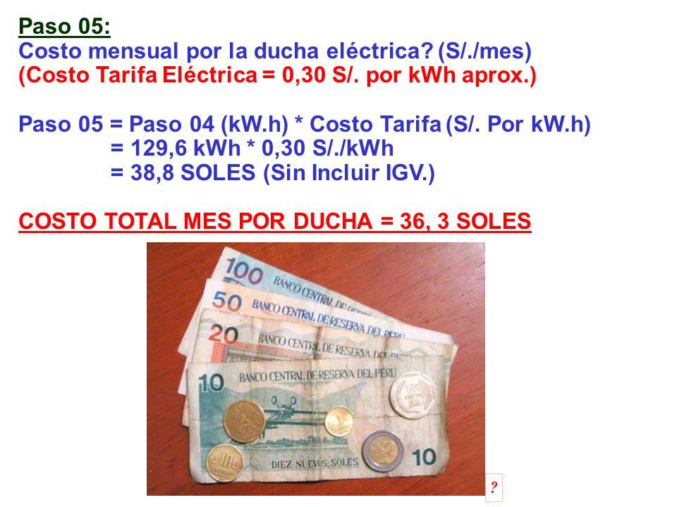 Costo mensual por la ducha eléctrica (S/./mes)