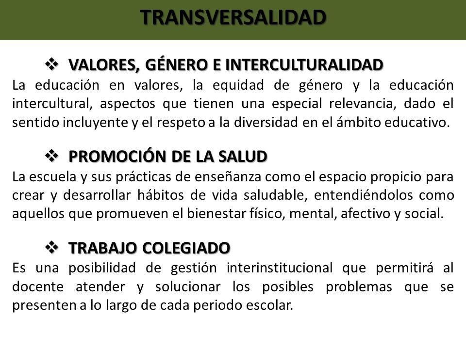 TRANSVERSALIDAD VALORES, GÉNERO E INTERCULTURALIDAD