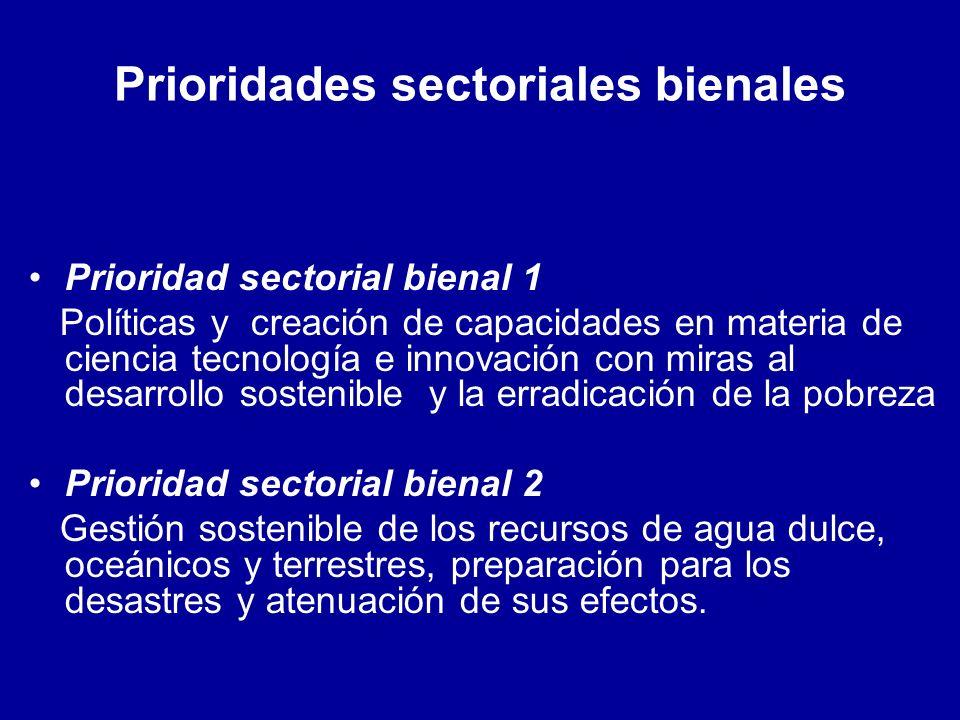 Prioridades sectoriales bienales