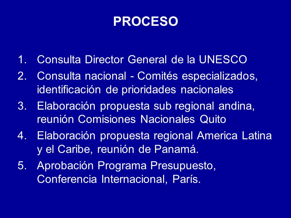 PROCESO Consulta Director General de la UNESCO