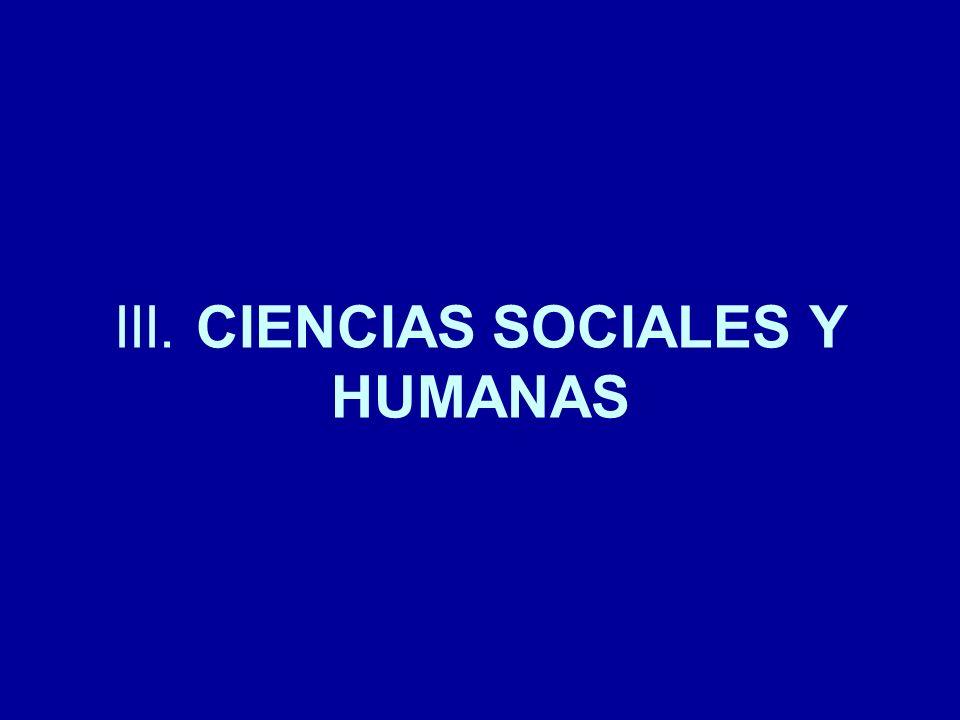 III. CIENCIAS SOCIALES Y HUMANAS