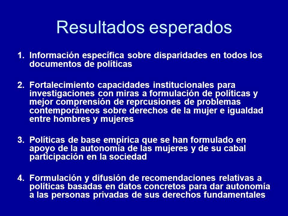 Resultados esperados Información específica sobre disparidades en todos los documentos de políticas.