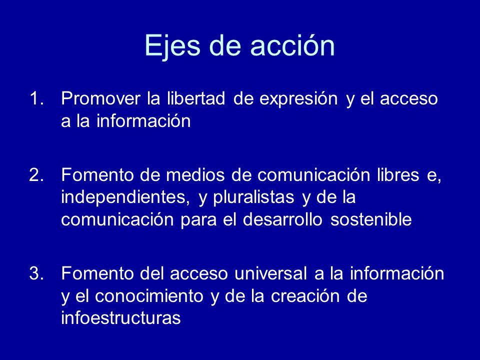 Ejes de acción Promover la libertad de expresión y el acceso a la información.