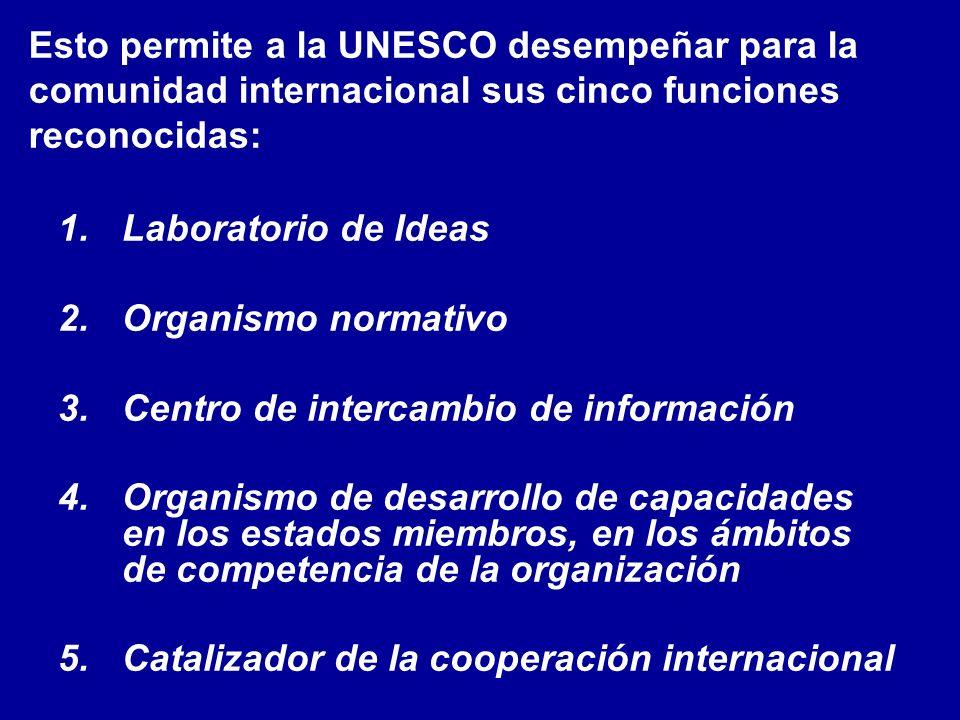 Esto permite a la UNESCO desempeñar para la comunidad internacional sus cinco funciones reconocidas: