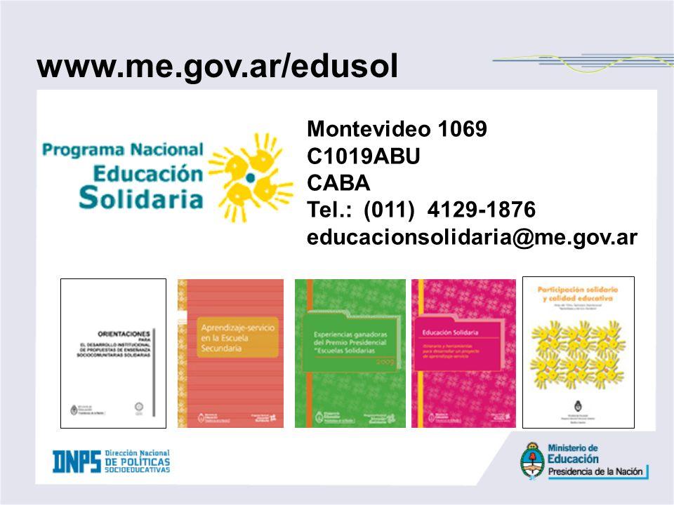 www.me.gov.ar/edusol Montevideo 1069 C1019ABU CABA