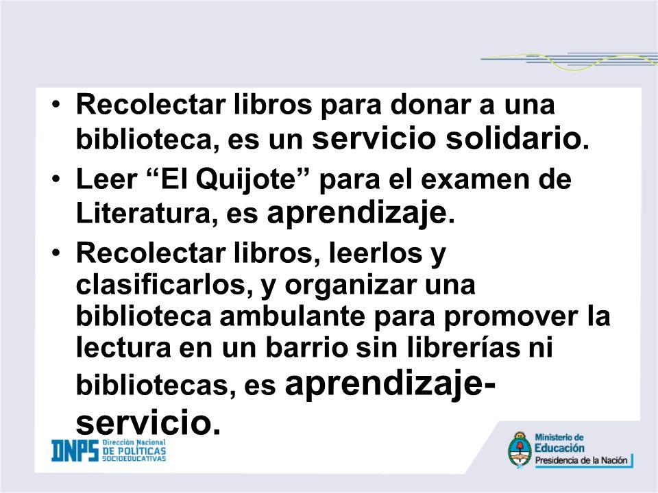 Recolectar libros para donar a una biblioteca, es un servicio solidario.