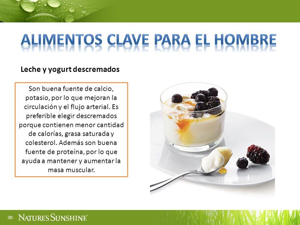 Alimentos clave para el hombre Leche y yogurt descremados