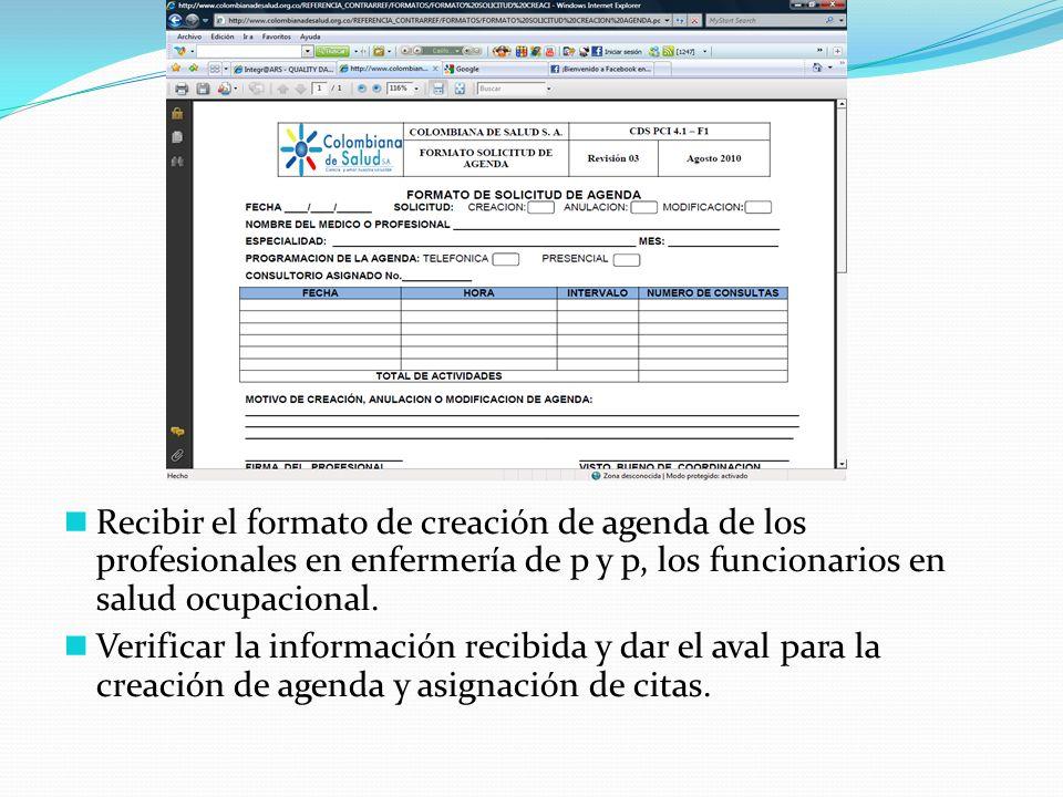 Recibir el formato de creación de agenda de los profesionales en enfermería de p y p, los funcionarios en salud ocupacional.
